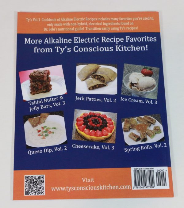 Alkaline Electric Recipes from Ty's Conscious Kitchen Vol. 1 Cookbook Back